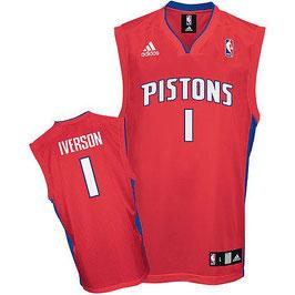 DETROIT PISTONS № 1  ALLEN IVERSON красная SWINGMAN РЕТРО баскетбольная майка NBA