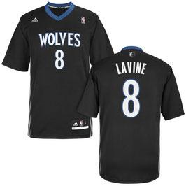 Баскетбольная майка Миннесота Тимбервулвз № 8 Лавин Зак черная (дл. рукав) SWINGMAN REV30