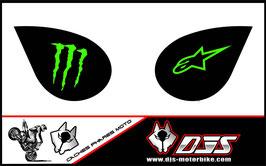 1 jeu de caches phares DJS pour Kawasaki zx6r microperforés qui laissent passer la lumière - référence : zx6-r-2007-2008-006