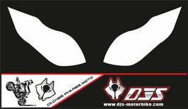1 jeu de caches phares DJS pour Kawasaki zx6r microperforés qui laissent passer la lumière - référence : zx6-r-2009-2012-blanc uni-