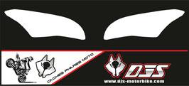 1 jeu de caches phares DJS pour kawasaki ZX10r 2016-2109 microperforés qui laissent passer la lumière - référence : ZX10R-2016-2019-fond blanc uni -