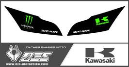 1 jeu de caches phares DJS pour Kawasaki ZX10R 2011-2015 microperforés qui laissent passer la lumière - référence : zx10r-2011-2015-001