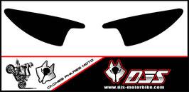 1 jeu de  caches phares DJS pour Yamaha r6 de 2003-2005  microperforés qui laissent passer la lumière - référence : r6-2003-2005-noir uni-