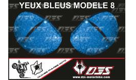 1 jeu de  caches phares DJS pour YAMAHA YZF R 125 2008 - 2018 microperforés qui laissent passer la lumière - référence : YAMAHA YZF R 125 2008 - 2018-yeux modèle 8-