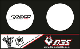 1 jeu de caches phares DJS pour Triumph speed triple microperforés qui laissent passer la lumière - référence : speed triple-2007-2010-002-