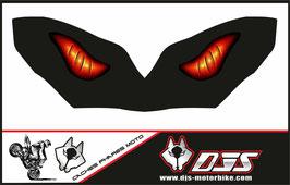 1 cache phare DJS pour KAWASAKI  ZX-10-R-2004-2005 microperforé qui laisse passer la lumière - référence : yeux modèle 6-