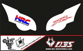 1 jeu de caches phares DJS pour HONDA CBR 1000 RR  microperforés qui laissent passer la lumière - référence : CBR 1000-2008-2011-016-