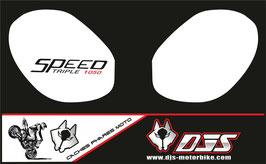 1 jeu de caches phares DJS pour Triumph speed triple microperforés qui laissent passer la lumière - référence : speed triple-r-2011-2015-002-