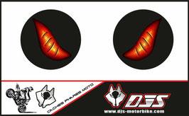 1 jeu de caches phares DJS pour  triumph street triple 2007-2010 microperforés qui laissent passer la lumière - référence :  triumph street triple 2007-2010-yeux modèle 6-
