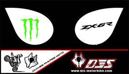 1 jeu de caches phares DJS pour Kawasaki zx6r microperforés qui laissent passer la lumière - référence : zx6-r-2007-2008-011