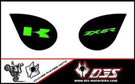 1 jeu de caches phares DJS pour Kawasaki zx6r microperforés qui laissent passer la lumière - référence : zx6-r-2007-2008-004