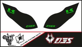 1 jeu de caches phares DJS pour Kawasaki zx6r microperforés qui laissent passer la lumière - référence : zx6-r-2009-2012-006-