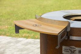 Anbautisch 800 Edelstahl mit Holzablage