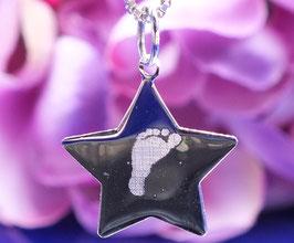 Gravurplättchen Stern  mittel aus 925er Sterling Silber