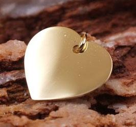Gravurplättchen Herz 14mm aus Echtgold
