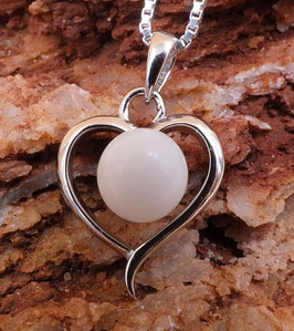 Anhänger Herz mit 7mm Perle in 925er Sterling Silber