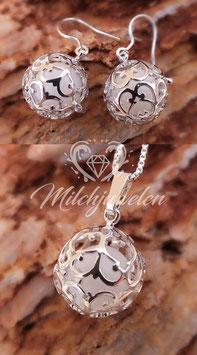 "Set Engelsrufer mini ""Ranke"" mit 12mm- Perlen in 925er Sterling Silber"