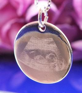 Gravurplättchenrund 20mm aus 925er Sterling Silber