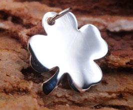 Gravurplättchen Kleeblatt mittel aus 925er Sterling Silber