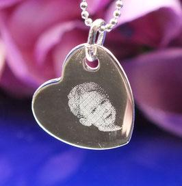 Gravurplättchen Herz  mittel  aus 925er Sterling Silber