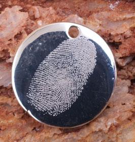 Gravurplättchenrund 25mm aus 925er Sterling Silber