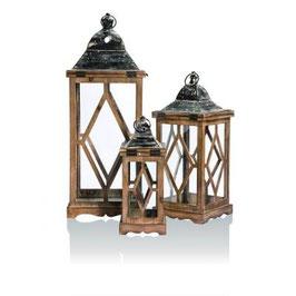 Lot de 3 lanternes bois naturel et métal - Réf : CH009