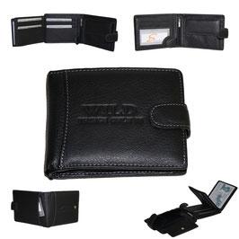 Leder Geldbörse - schwarz mit Knopf