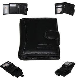 Leder Geldbörse - schwarz klein mit Knopf