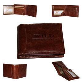 Leder Geldbörse - braun klein