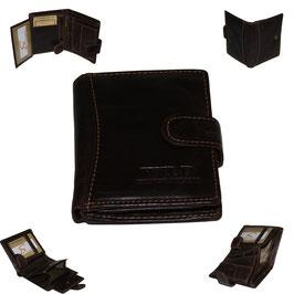 Leder Geldbörse - dunkelbraun klein mit Knopf
