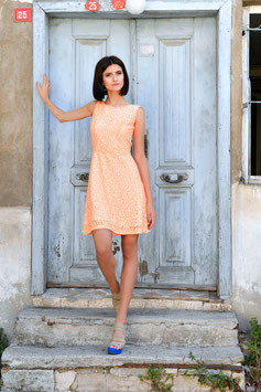 DRESS WHITE ORANGE