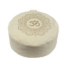 Meditationskissen gold Print Mandala OM naturweiss