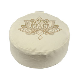 Meditationskissen gold Print Lotus naturweiss