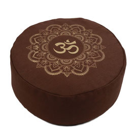 Meditationskissen gold Print Mandala OM braun
