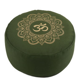 Meditationskissen gold Print Mandala OM olive grün