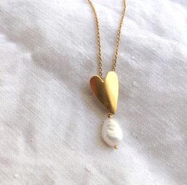 Collier Le coeur perle
