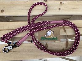 Leine mit Handschlaufe Flachseil Aubergine Rose Pink