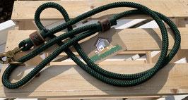 Leine mit Hanschlaufe dunkelgrün / leder braun