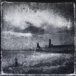 Monotype, P : Phares et Jetées, 2020, tirage au charbon, bichromie