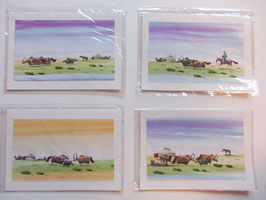 Briefkarte Aquarell Yaks