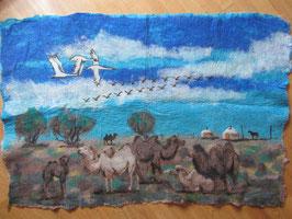mongolische Landschaft mit Kamelen