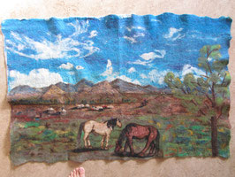 mongolische Landschaft mit Pferden