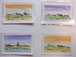 Briefkarte Aquarell Pferde