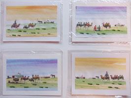 Briefkarte Aquarell Kamele