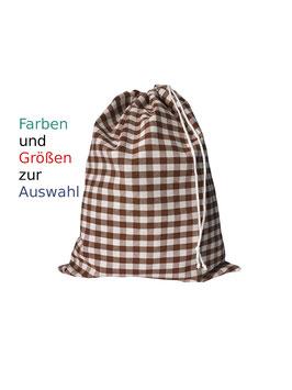 Wäschesack groß kariert Bauernkaro Vichykaro reine Baumwolle wiederverwendbar Wäschesammler Reise Kita