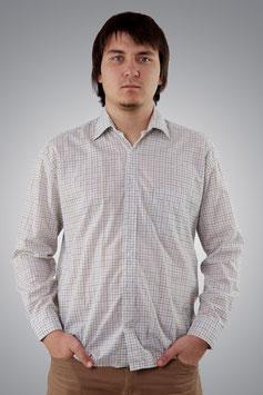 Рубашка белая в мелкую клетку