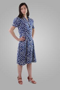 Платье синее в белые цветы