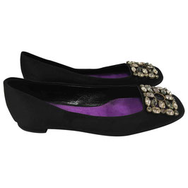 Ballerines Louis Vuitton en cuir et satin noir