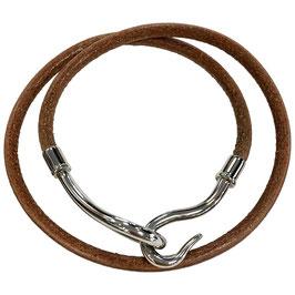 Collier Hermès Jumbo en cuir et métal argenté