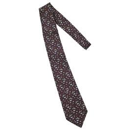 Cravate Hermès marron motif équitation